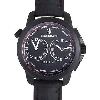 Maserati R8851121002 men ' s zwarte riem dual time successo horloge