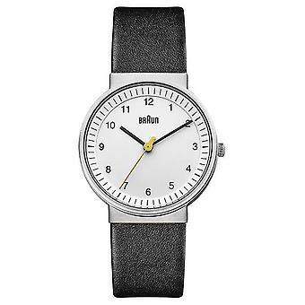 Braun | Vrouwen | Eenvoudig kwarts | Zwarte leren band | Bn0031WHBKL Horloge