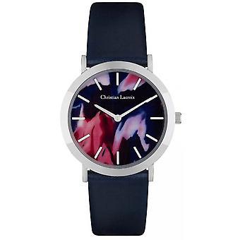Christian Lacroix CLW010 Watch - Pulseira de couro de aço de aço de prata Blue Women's Multicolor Dial