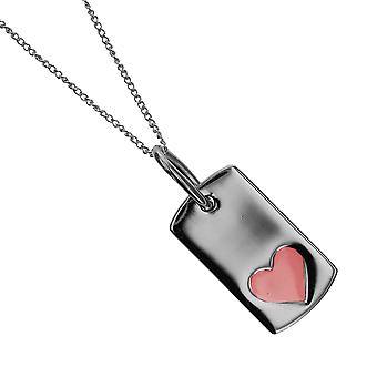 Die Olivia Collection Girls Sterling Silver Pink Heart Dog Tag auf 16
