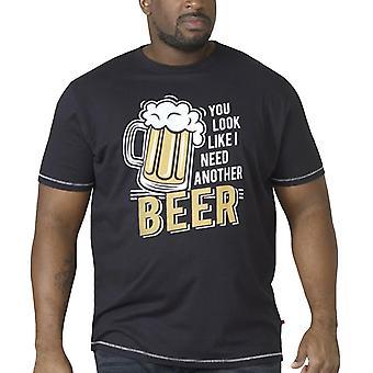 Duke D555 Hombres Murray Gran Alto Novedad Cerveza Impresión Crew Cuello Camiseta - Negro