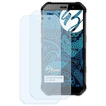 Bruni 2x Película Protectora compatible con AGM A9 Lámina Protectora