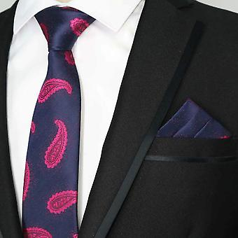 Navy blue & pink paisley necktie & pocket square set