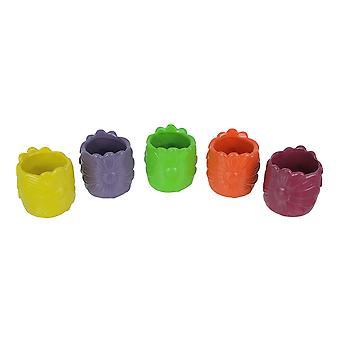 Set of 5 Multi Color Ceramic Pottery Vases Small Garden Flower Pot Art Decor