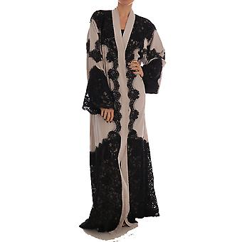 Dolce & Gabbana Beige schwarz Ricamo Kaftan Abaya Kleid