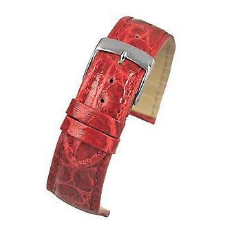 Подлинный итальянский крокодиловый ремешок для часов ярко-красный размер 18 мм и 20 мм