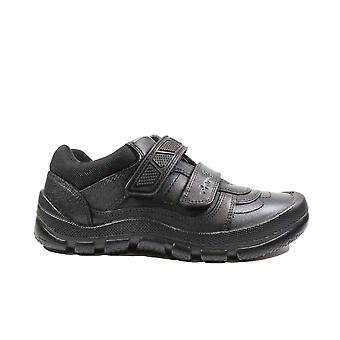Startrite Rhino Warrior Medium Fit Black Leather Boys Rip Tape School Shoes