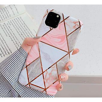 Mobile Schale für iPhone XR mit hellrosa Marmormuster