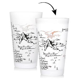Le Hobbit verre à boire effet thermique Thorins carte transparente, 100% verre, dans l'emballage cadeau, capacité approximative de 450 ml.