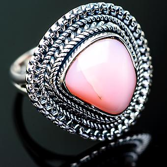 Pink Opal Ring Size 7.25 (925 Sterling Silver)  - Handmade Boho Vintage Jewelry RING996452