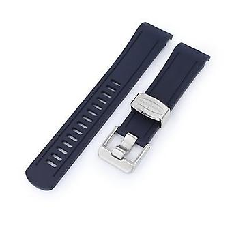 Strapcode rubber watch strap 22mm crafter blue - navy blue rubber curved lug watch band for seiko shogun sbdc007