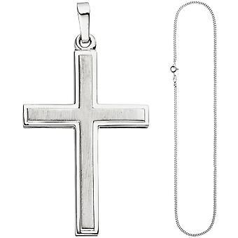 Pendant cross part 925 Silver cross pendant silver cross matt chain 60 cm