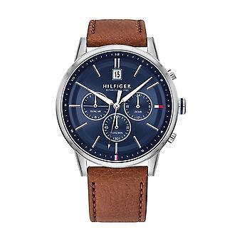 Tommy Hilfiger horloge 1791629-multifunctionele ronde stalen kast blauw Blackst bruin lederen armband