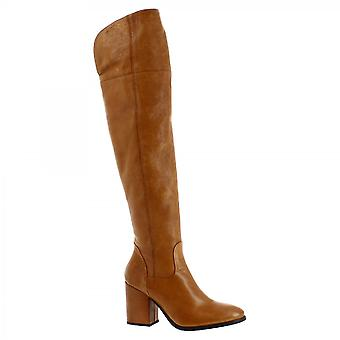 Leonardo Shoes Women's handmade heels knee high boots in tan calf leather