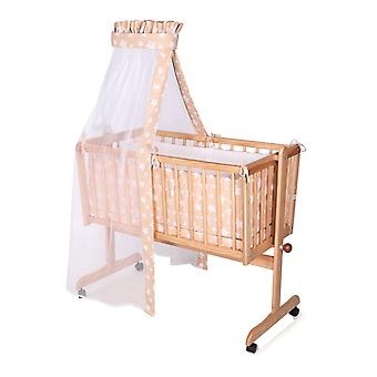 Lorelli Baby Cradle, Baby Swing Eva made of beech wood easily movable rolls, light