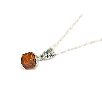 The Olivia Collection Sterling Silver Amber Cube Pendant