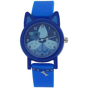 Tikkers Analogue Kids Blue Dog Design Blue Rubber / Silicone Strap Watch TK0089