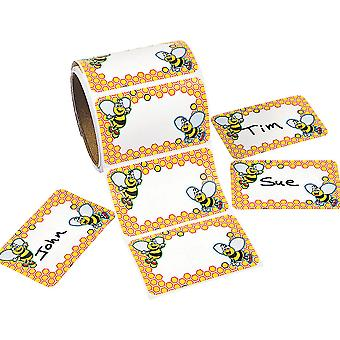 Roll of 100 Bumble Bee Name Tag Stickers for Kids | Childrens Craft Stickers