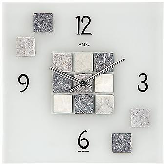 AMS 9276 Wall clock Quartz analog square in stone look with natural stones and glass