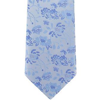 Michelsons di Londra sottile floreale poliestere cravatta - azzurro