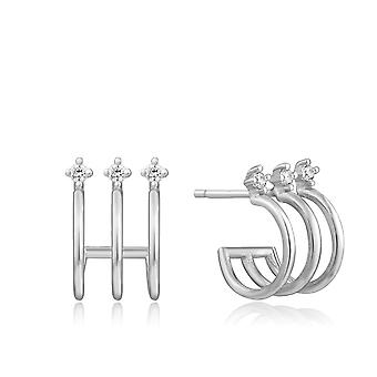 Ania Haie Ear We Go Rhodium Triple Mini Hoop Stud Earrings E023-04H