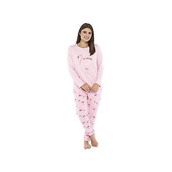 Jersey Top & Fleece Bottoms Flamingo Pyjama Set