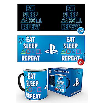 Playstation Jíst spánek Opakovat teplo-Měnící Hrnek