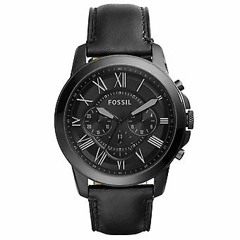 Fossil FS5132 Grant Chronograph Black Leather Strap 44mm Men's Watch