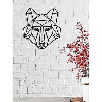 Wanddekoration Wolf Farbe Schwarz in Metall 50x0,16x44 cm