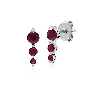 Classic Round Ruby Gradient Drop Stud Earrings in 925 Sterling Silver 270E025505925