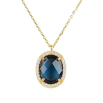 Necklace Gold Sapphire Blue Pendant Gemstone Chain Gift Wedding 925 Sparkle Oval