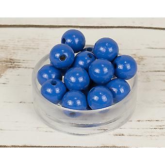 14mm Mid Blue Wooden Threading Beads - 18pk
