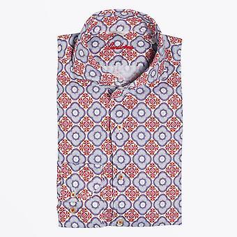 Stenstroms  - Linen Geometric Print Shirt - Red/Multi