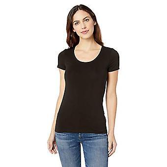 Brand - Lark & Ro Women's Short Sleeve Scoop Neck T-Shirt, Black, Small