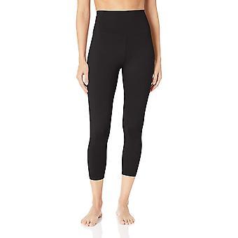 "Core 10 Frauen's Standard Yoga Foldover hohe Taille 7/8 Crop Legging-24"", Schwarz M (8-10)"