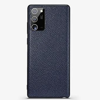 Pour Samsung Galaxy Note 20 Cas Genuine Leather Slim Fit Protection Cover Blue