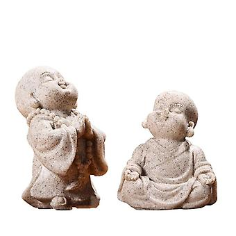 Cute Little Monk Adorable Chinese Buddha Sandstone Statue