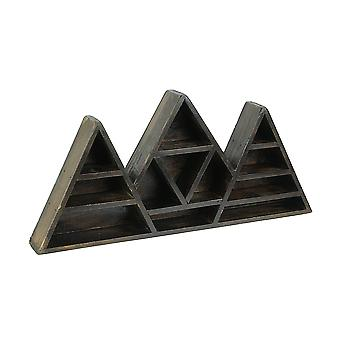 Dark Brown Wooden Geometric Triangle Crystal Display Shelf 16.5 x 7.75 x 2 inch