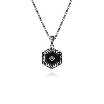 Art Deco Style Hexagon Black Onyx & Round Marcasite Pendant Necklace in 925 Sterling Silver 214P303502925