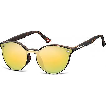 Sunglasses Unisex Panto Flamed Brown/Yellow (MS46)