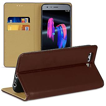 Book case with card compartment for Huawei Honor 9 Microfiber Wallet TPU Magnetic Lock Brown