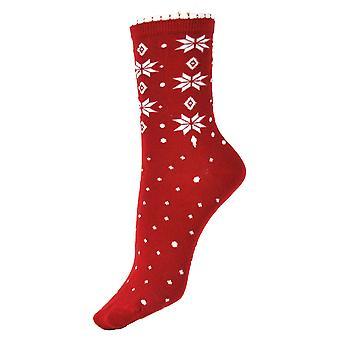 Naiset's Lumihiutale joulun aikaan rento puuvilla nilkan sukat 4-6 UK