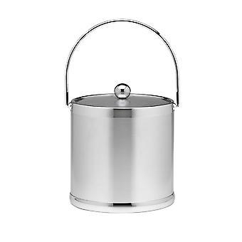 Cubo de hielo cepillado Chrome 3 Qt W/ Mango de baleado y cubierta de metal