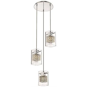 3 Light Ceiling Cluster Pendant Chrome Glass Round, G9