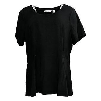 Isaac Mizrahi Live! Women's Plus Top Short-Slv Seamed Peplum Black A354253