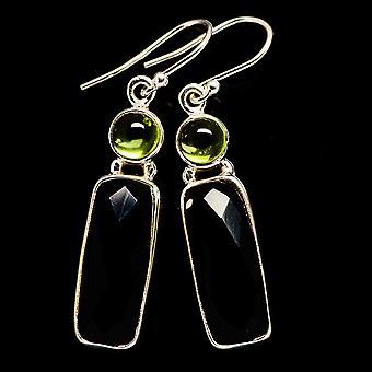 Musta Onyx, Peridot korvakorut 1 3/4&&;(925 Sterling Silver) - Käsintehty Boho Vintage korut EARR406024