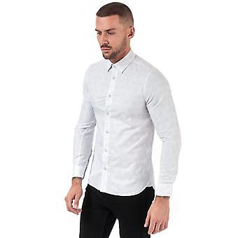 Män & apos;s Ted Baker Canarry Deco Randig bomull skjorta i vitt