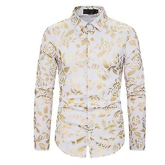 Mens Luxury Gold Rose Print Shirt Long Sleeve Slim Fit Button Down Dress Shirts For Party