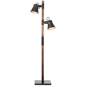 Lámpara BRILLANTE Lámpara de Arado Lámpara de Pie 2flg acero negro/madera ? 2x A60, E27, 10W, adecuado para lámparas normales (no incluidas)