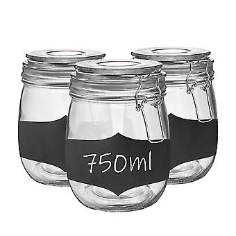 Glass Storage Jars with Airtight Clip Lid and Chalkboard Stickers - 750ml Set - Clear Seal - Pack of 3